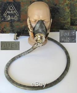 WWII 1940 ORIGINAL GERMAN DRP LUFTWAFFE OXYGEN MASK AUER withAIR VALVE XTR. RARE