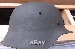 WWII German Army Model 1942 steel helmet with its original paintwork intact 58/9