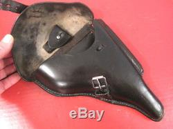 WWII German Black Leather Holster for Luger P08 Pistol bml/41 WaA918 Original