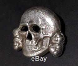 WWII German Skull TR Waffen SS Officer Visor Cap Badge RZM M 1/24 Original WW2
