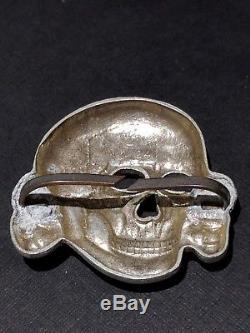 WWII German Skull TR Waffen SS Officer Visor Cap Badge RZM M 1/24