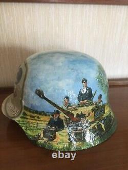 Ww2 Beautiful Painted Original German M35 Helmet