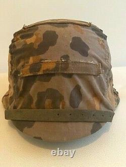 Ww2 German Rare Reversible Camouflage Helmet Cover For Elite Units. Orig