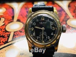Ww2 German military LACO Sport wristwatch pilot's black face / lumed hands