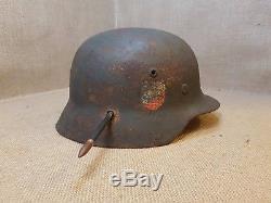 Ww2 Original German M35 Helmet Dd. Sniper Shot. Nice Display. Se64