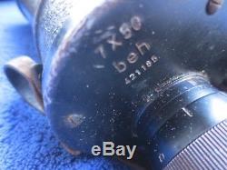 Ww2 Original German Navy 7x50 Binoculars Beh Kriegsmarine Dienstglas With Cap