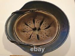 Ww2 original german helmet normandy camo helmet liner strap in good con