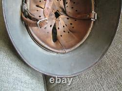 Wwi Transitional To Wwii Original German Army Combat Helmet & Liner & Chin Strap