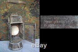 Wwii Original German Bronze Carbide Lantern Marked