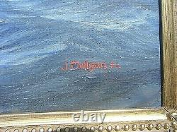 Wwii Painting German Battleship Scharnhorst Large Signed